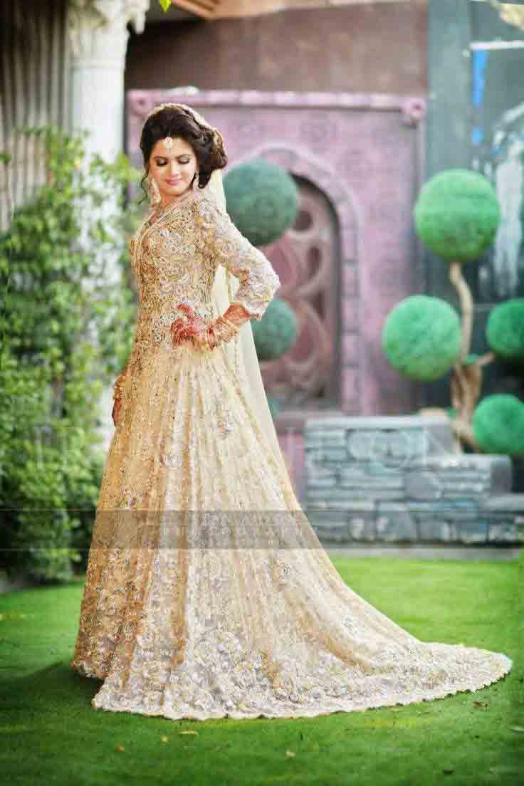 Beautiful off white Pakistani bridal long tail maxi gown dress designs 2017