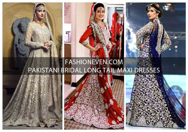 43054e475c Latest red blue and gray Pakistani bridal long tail maxi gown dress designs  2017