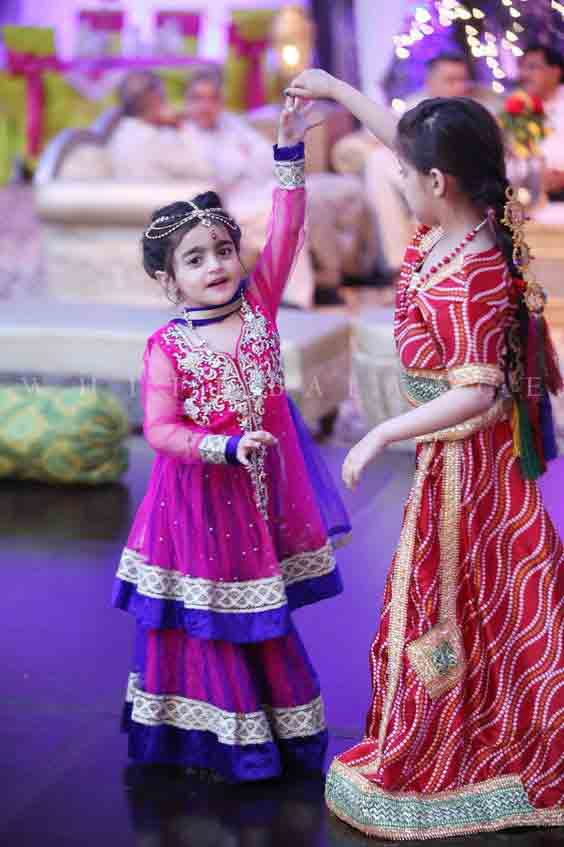 Purple and blue baby girls sharara dress designs 2018 for wedding party with dupatta