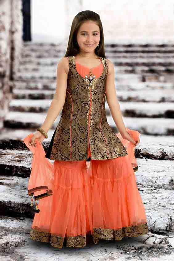 Orange and metallic jamawar baby girls sharara dress designs 2018 for wedding party with dupatta