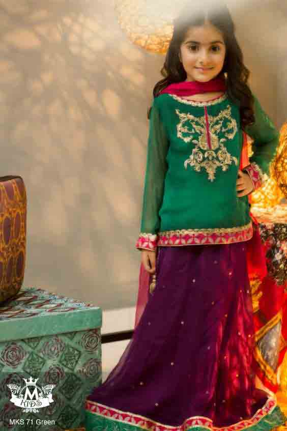 Green and purple embroidered baby girls sharara dress designs 2018 for wedding party with dupatta