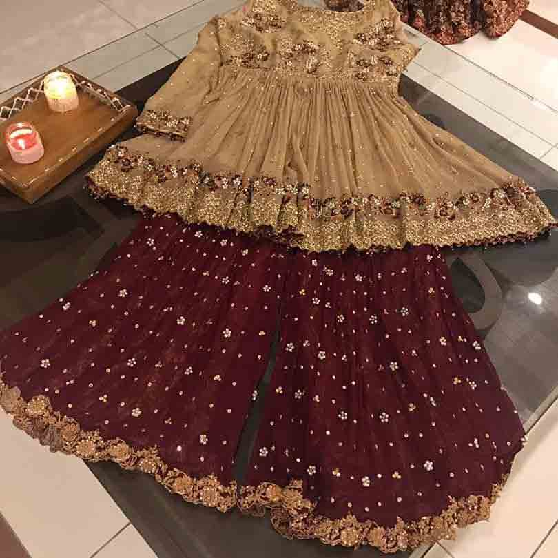 Golden and maroon embroidered baby girls sharara dress designs 2018 for wedding party