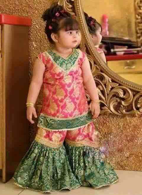 Green and pink jamawar baby girls sharara dress designs 2018 for wedding party
