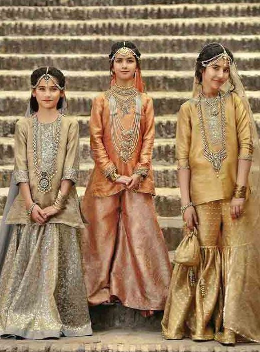 Off white and golden baby girls sharara dress designs 2018 for wedding party