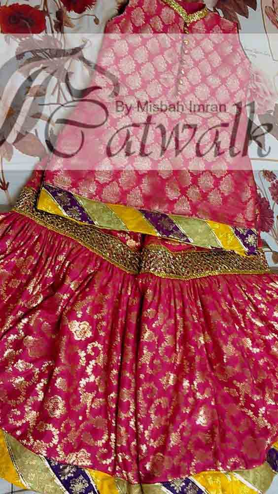 Pink and yellow jamawar baby girls sharara dress designs 2018 for wedding party