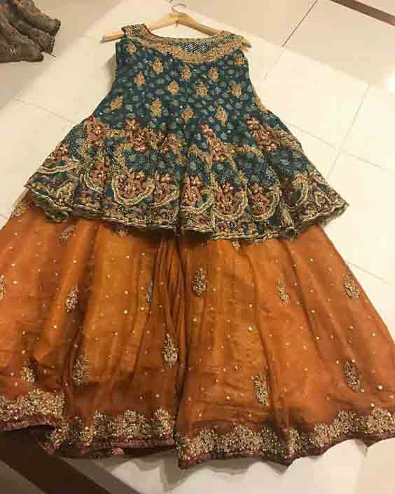 Green and golden mustard baby girls sharara dress designs 2018 for wedding party