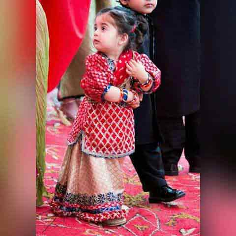Red and golden jamawar baby girls sharara dress designs 2018 for wedding party