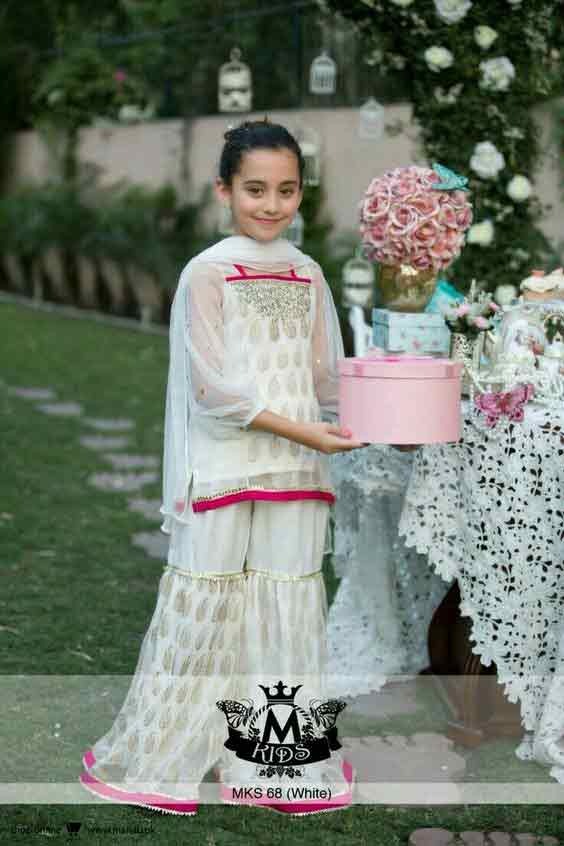 White and pink baby girls sharara dress designs 2018 for wedding party with dupatta