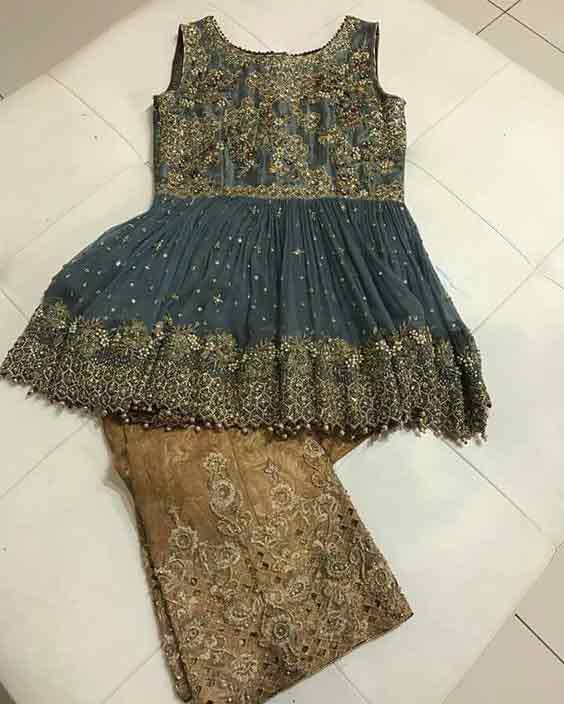Blue and golden baby girls sharara dress designs 2018 for wedding party