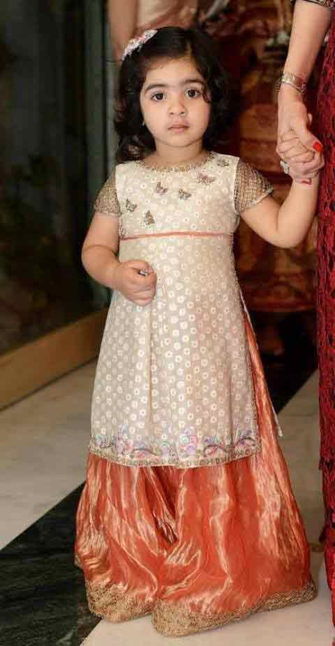 White and orange baby girls sharara dress designs 2018 for wedding party