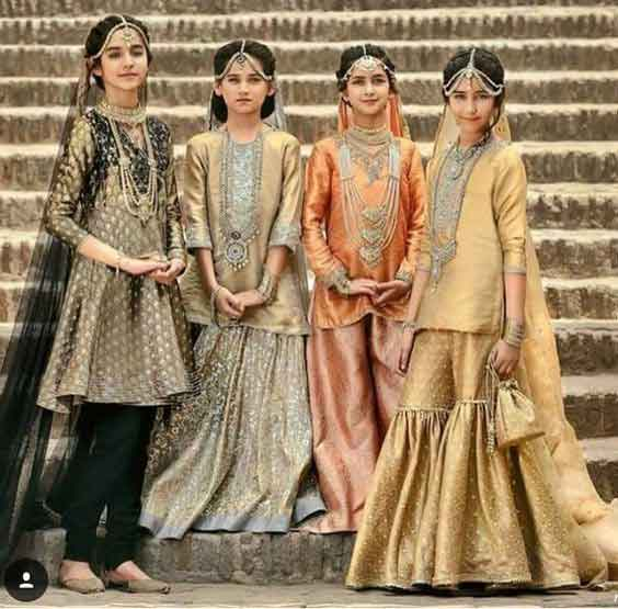 Royal orange golden and green baby girls sharara dress designs 2018 for wedding party