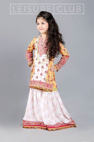 Yellow and white baby girls sharara dress designs 2018 for wedding party
