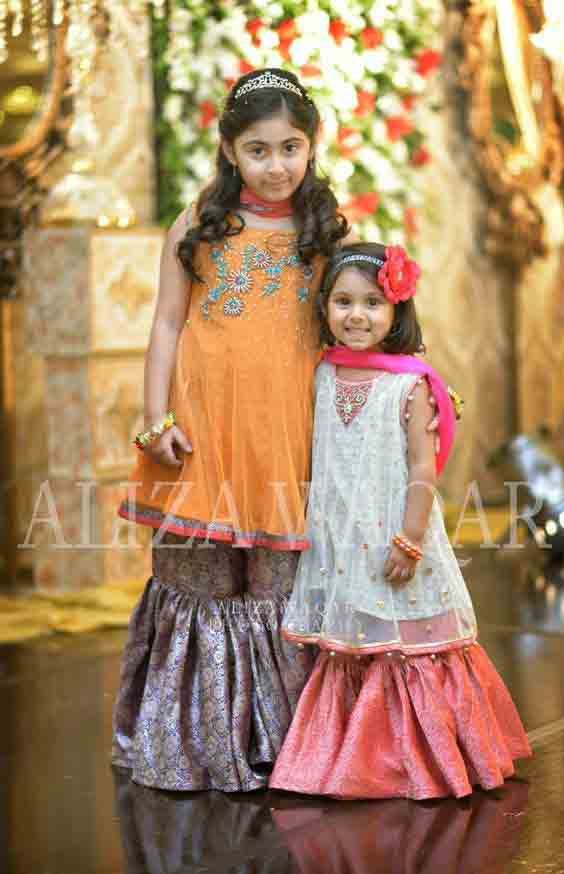 Orange and white baby girls sharara dress designs 2018 for wedding party with dupatta