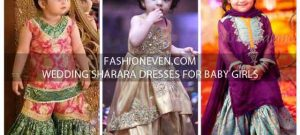 Green golden and purple jamawar baby girls sharara dress designs 2018 for wedding party with dupatta
