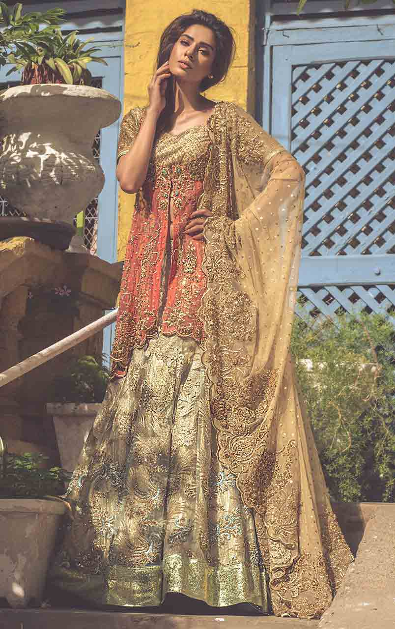 Golden peach and off white bridal peplum tops with lehenga designs 2017