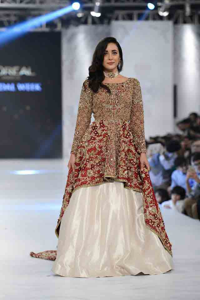 Golden maroon and white bridal peplum tops with lehenga designs 2017