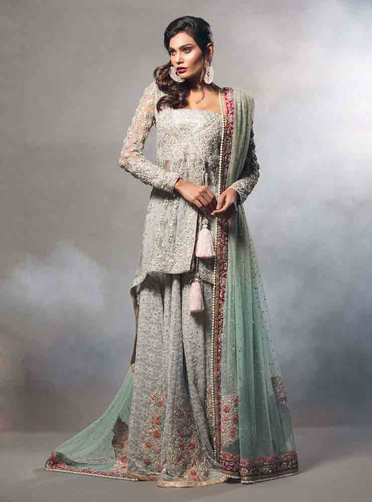Gray and light blue bridal peplum tops with lehenga designs 2017