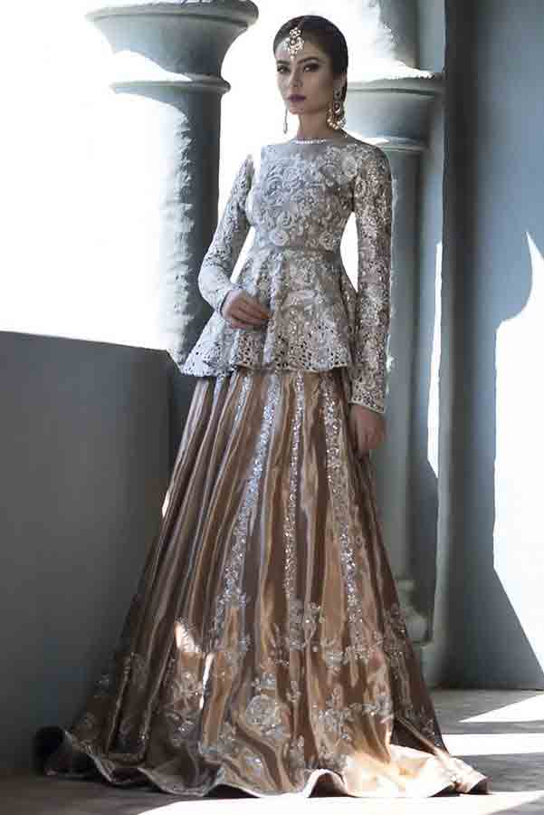 Silver and golden bridal peplum tops with lehenga designs 2017