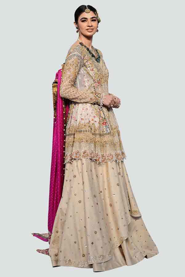 Beige bridal peplum tops with lehenga designs 2017