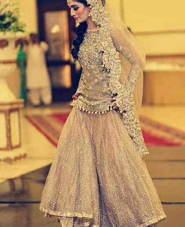 peach pink bridal peplum tops with lehenga designs 2017