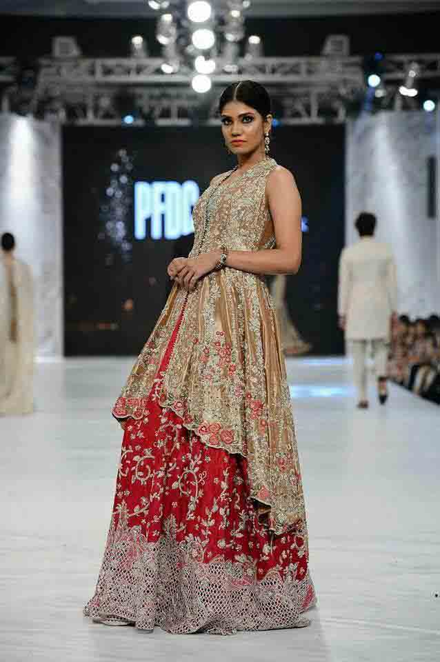 Golden and red bridal peplum tops with lehenga designs 2017