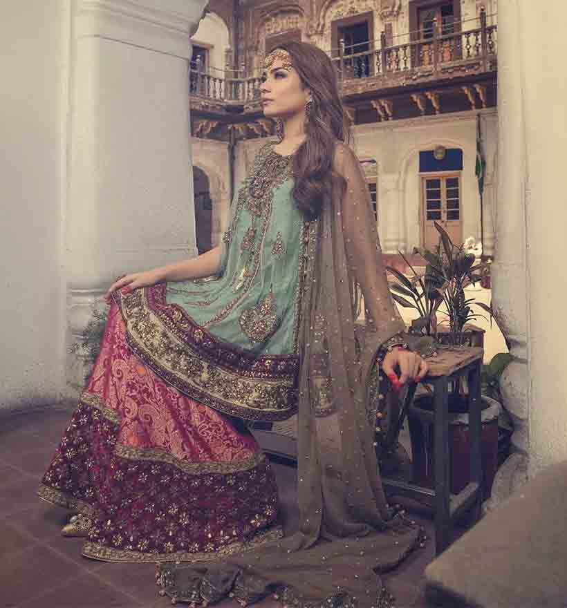 Ferozi and red bridal peplum tops with lehenga designs 2017