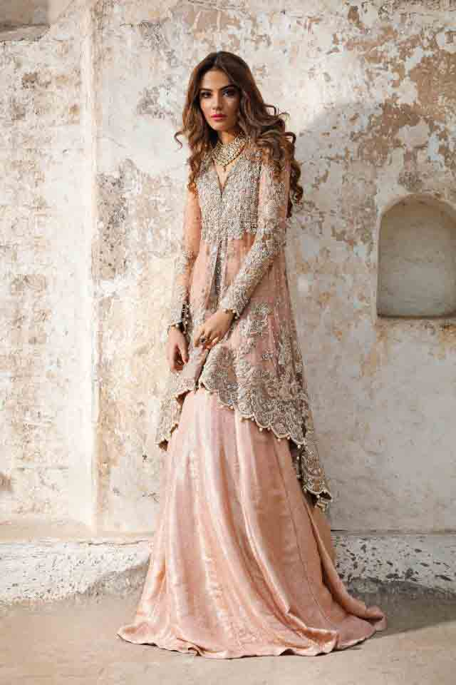 SIlver and pink peach bridal peplum tops with lehenga designs 2017