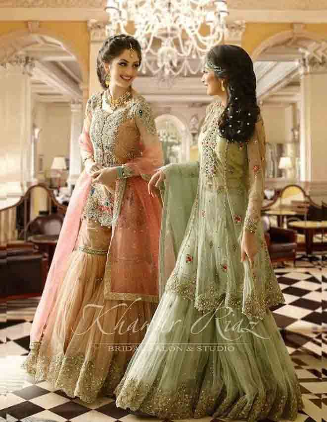 Peach and light green bridal peplum tops with lehenga designs 2017
