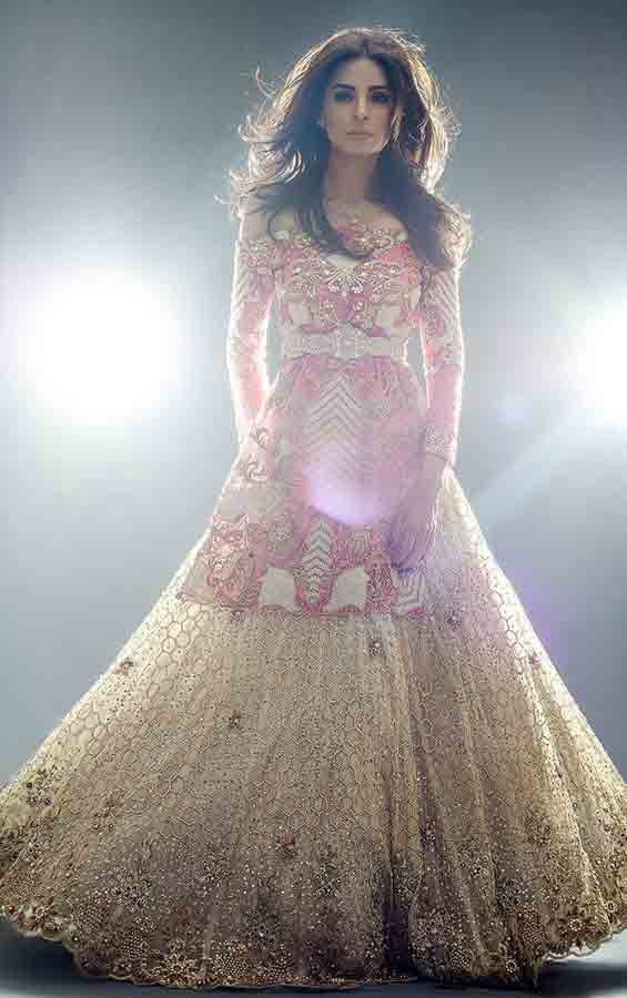 Red and off white bridal peplum tops with lehenga designs 2017