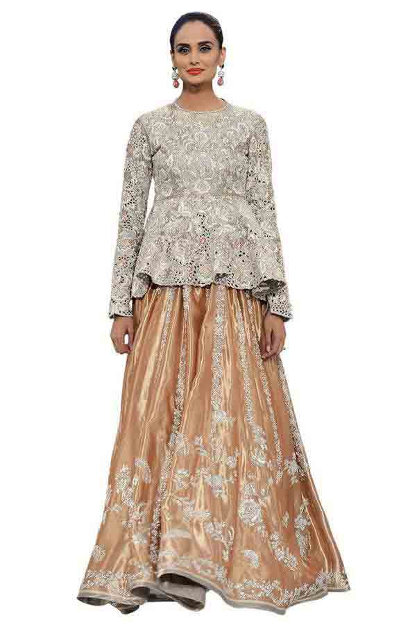 Silver and peach bridal peplum tops with lehenga designs 2017