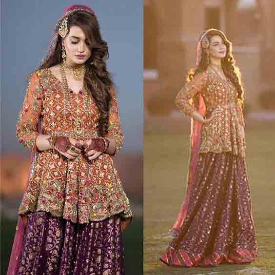 Peach and purple bridal peplum tops with lehenga designs 2017