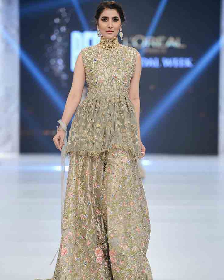 Golden beige bridal peplum tops with lehenga designs 2017