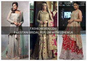 Golden gray red and maroon bridal peplum tops with lehenga designs 2017