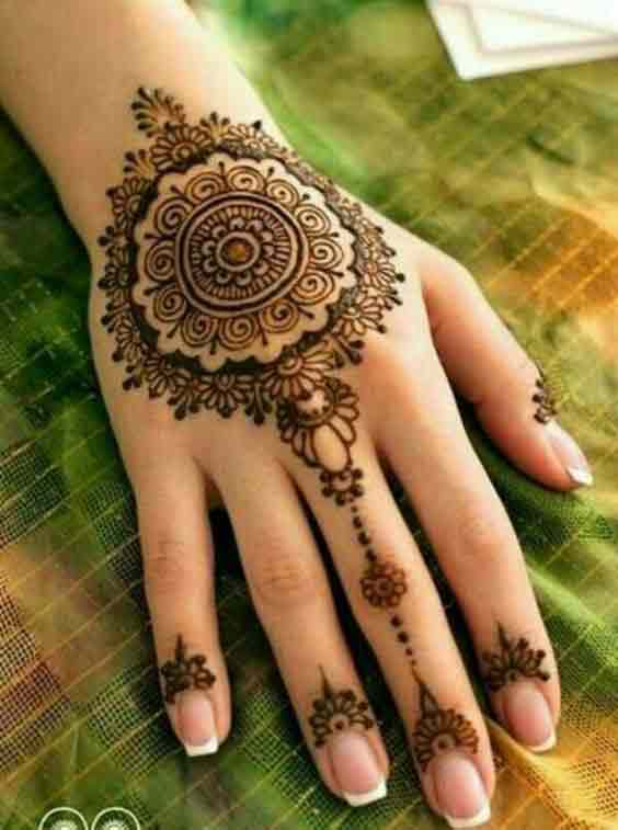 Pakistani simple gol tikka mehndi designs 2017 for back hands