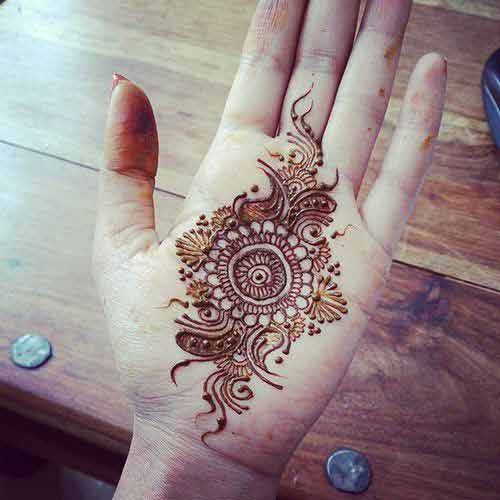 Latest and simple gol tikka mehndi designs 2017 for front hands