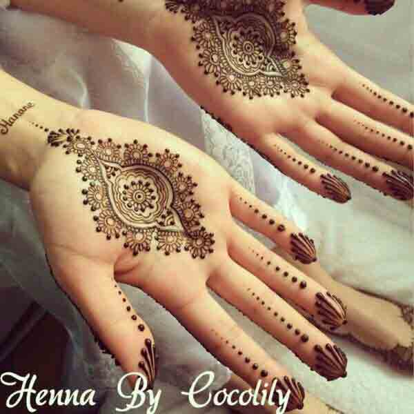 New style simple gol tikka mehndi designs 2017 for front hands