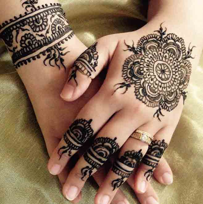 Beautiful simple gol tikka mehndi designs 2017 for back hands