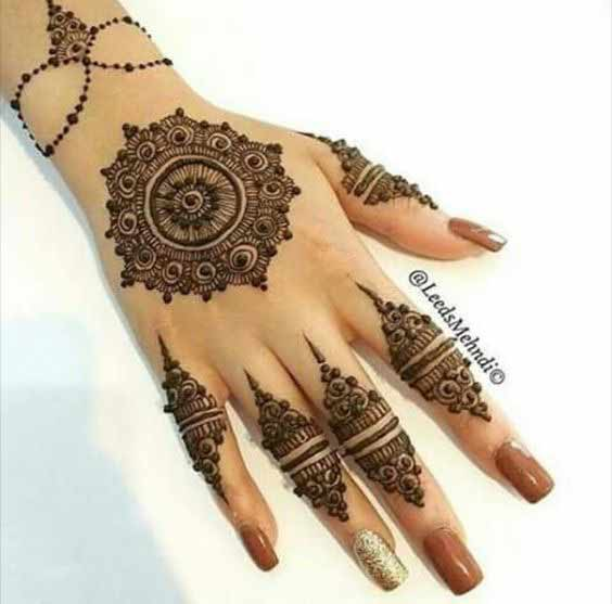 Easy and simple gol tikka mehndi designs 2017 for back hands