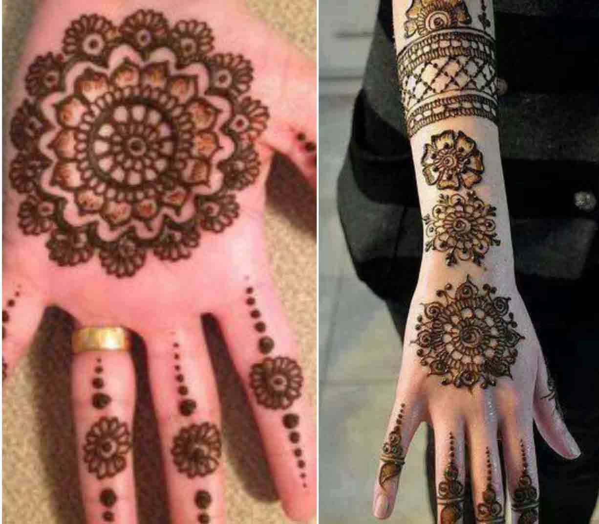 Latest and simple gol tikka mehndi designs 2017 for front and back hands