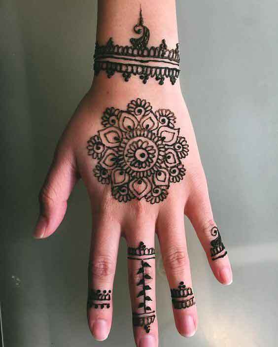 Indian simple gol tikka mehndi designs 2017 for back hands