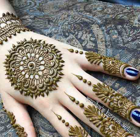 Arabic simple gol tikka mehndi designs 2017 for back hands