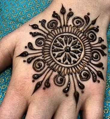 Latest style simple gol tikka mehndi designs 2017 for back hands