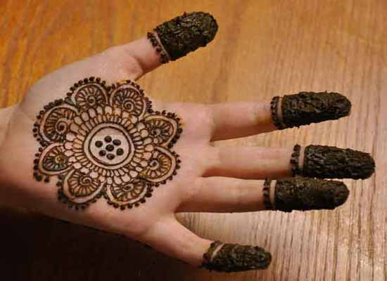 Easy and simple gol tikka mehndi designs 2017 for front hands