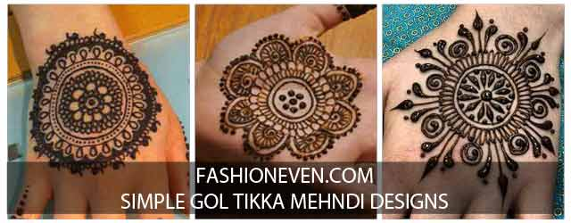 Easy and simple gol tikka mehndi designs 2017 for front and back hands