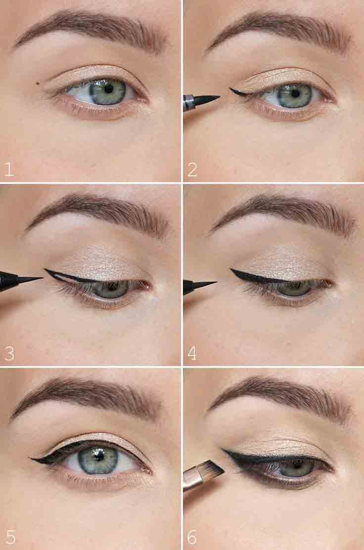 Apply gray or black color eyeliner simple 5 steps for easy and natural makeup for girls in Pakistan