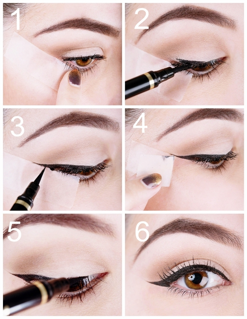 Use of scotch tape when applying eyeliner secrets and hacks from best makeup tips and tricks in Pakistan