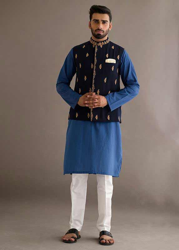 Dark blue waistcoat with blue and white kurta pajama designs 2017 for men in Pakistan