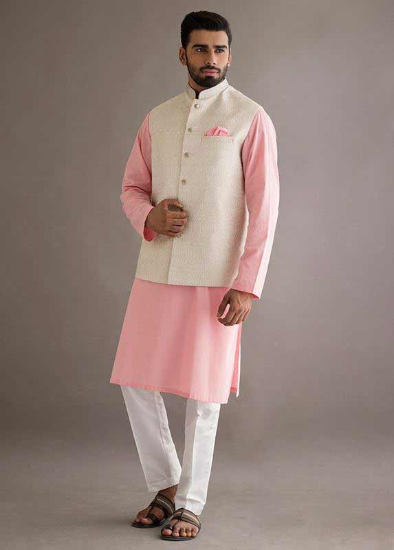 Off white waistcoat with baby pink and white kurta pajama designs 2017 for men in Pakistan