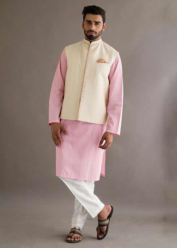 White waistcoat with pink kurta pajama designs 2017 for men in Pakistan