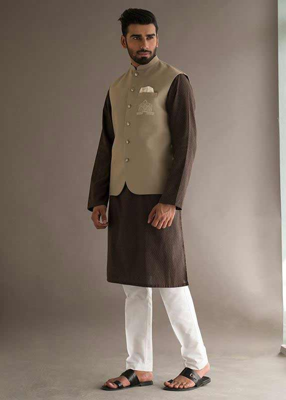 Brown waistcoat with Dark brown kurta pajama designs 2017 for men in Pakistan